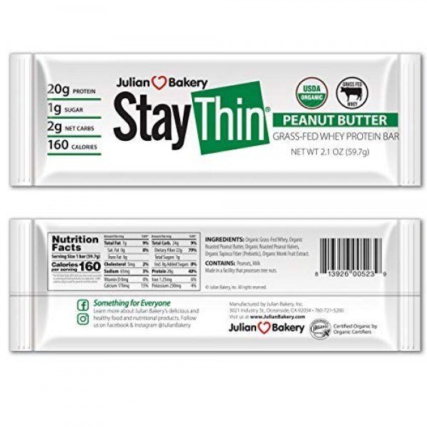 Julian Bakery Stay Thin Protein Bar | Peanut Butter Grass-Fed Wh...