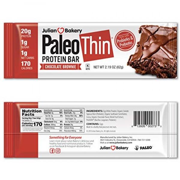 Julian Bakery Paleo Thin Protein Bars Chocolate Brownie Glute...