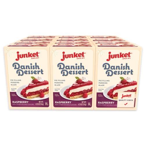 Junket Danish Dessert Raspberry, 4.75-Ounce Pack of 12