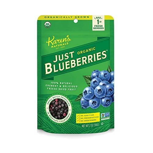 Karens Naturals Organic Just Blueberries, 2 Ounce Pack of 6 ...