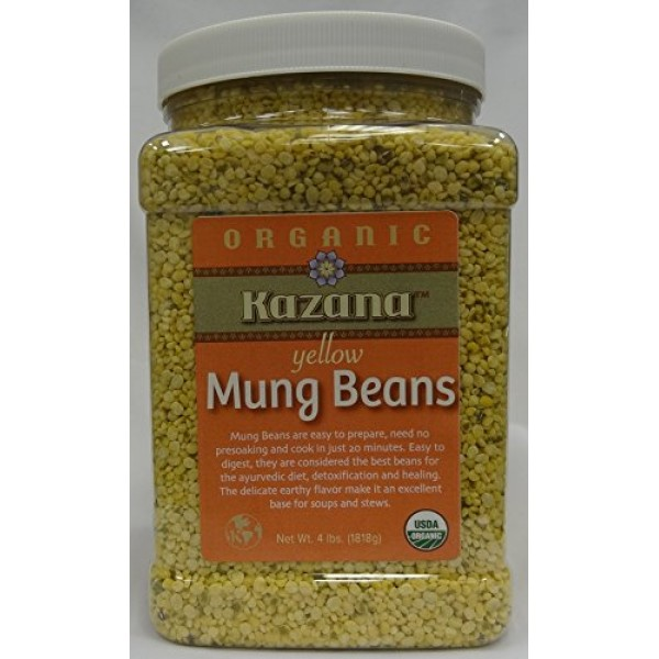 Kazana Yellow Mung Dahl Beans, 4 Lb Jar Pack USDA Certfied Organ...
