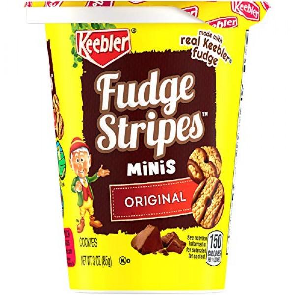 Keebler Fudge Stripes Cookies, Minis in a Cup, Original, 3 Ounce...
