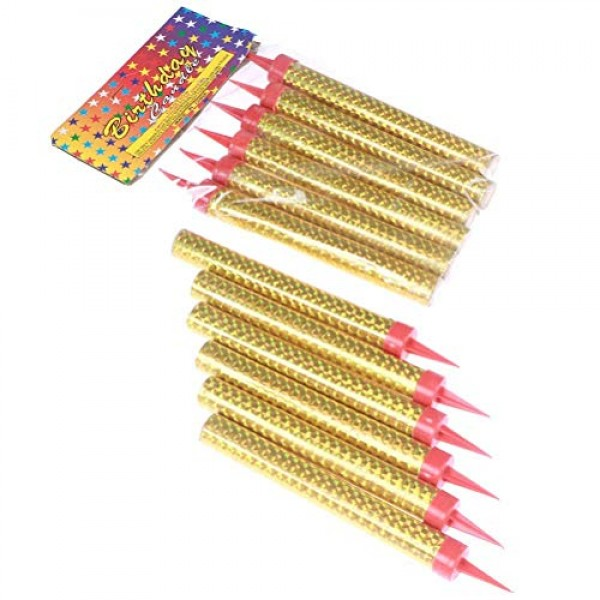 12 Pcs Birthday Candles, Gold Cake Decorating Candles Used for B...