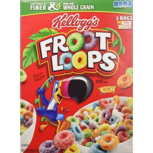 Kelloggs Froot Loops Cereal 43.6 Total Ounce Two Bag Value Box