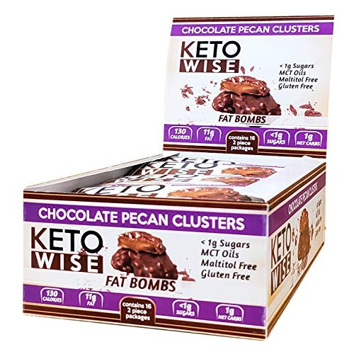 Keto Wise Fat Bombs Pecan Clusters, 16Count Box, 18 Ounce , Choc...