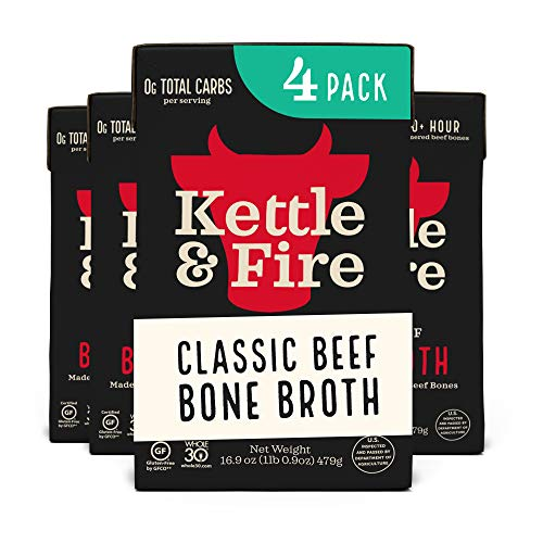 Beef Bone Broth Soup by Kettle and Fire, Pack of 4, Keto Diet, P...