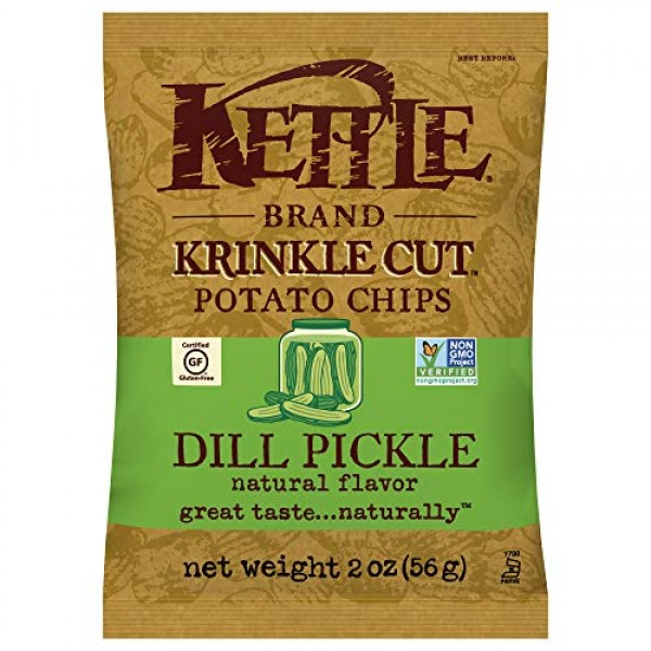 Kettle Brand Potato Chips, Dill Pickle, 2 Ounce Bag