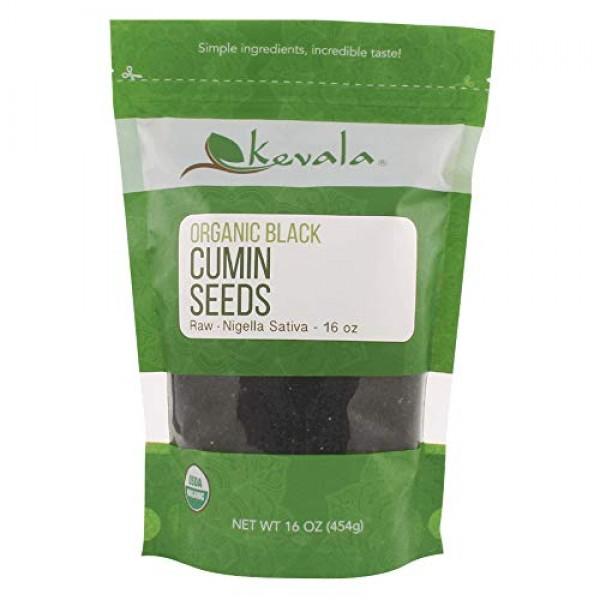 Kevala Organic Raw Black Cumin Seeds Nigella Sativa 1 Lb