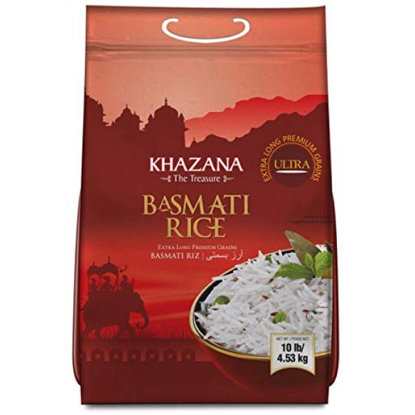 Khazana Premium Ultra Extra Long Basmati Rice - 10lb Resealable ...