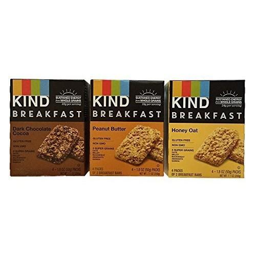 KIND Breakfast Bar Variety Bundle: Dark Chocolate Cocoa, Peanut ...
