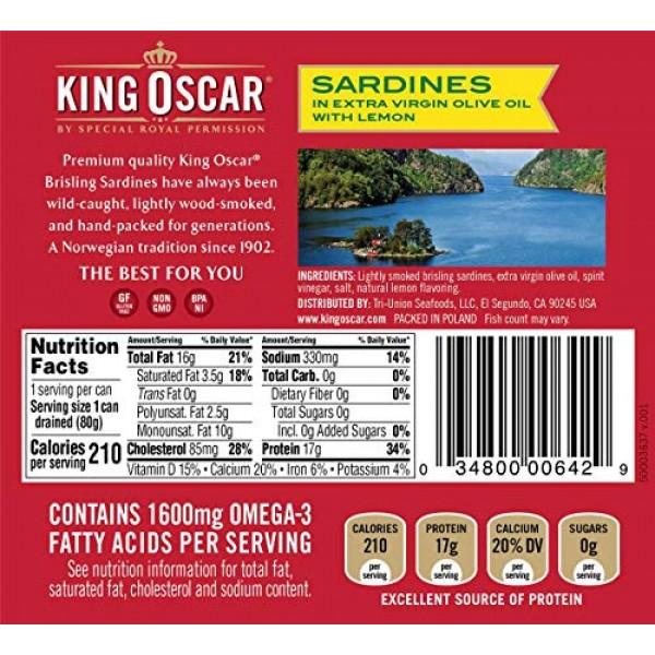 King Oscar Sardines In Extra Virgin Olive Oil With Lemon, EVOO w...
