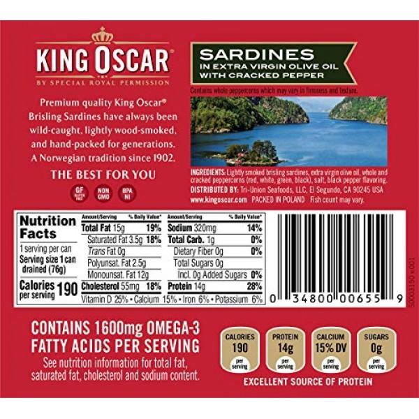King Oscar Wild Caught Sardines in Extra Virgin Olive Oil 3.75 O...