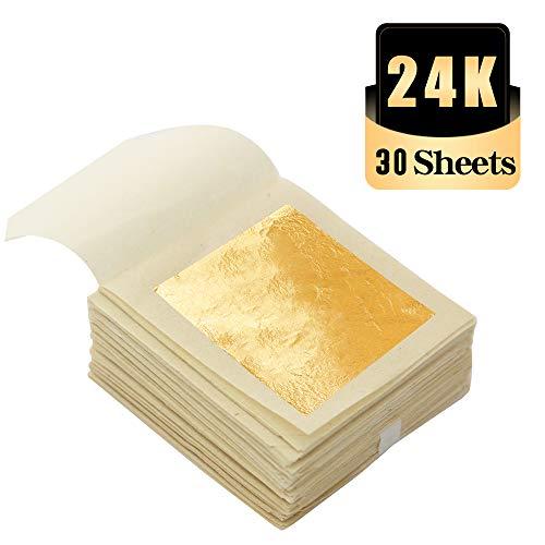 KINNO Edible Gold Leaf Sheets 30 Sheets 1.7 x 1.7 24K Yellow R...