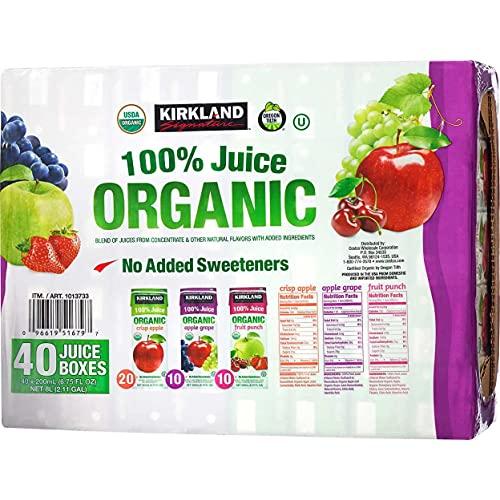 Kirkland Signature Organic 100% Juice 40 Count, 6.75 Ounce