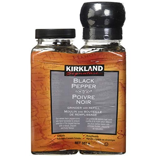 Kirkland Signature Black Pepper Adjustable Grinder with Refill, ...