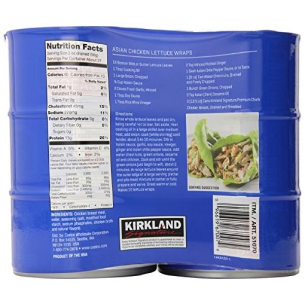 Kirkland Signature Premium Chunk Chicken Breast Packed in Water,...