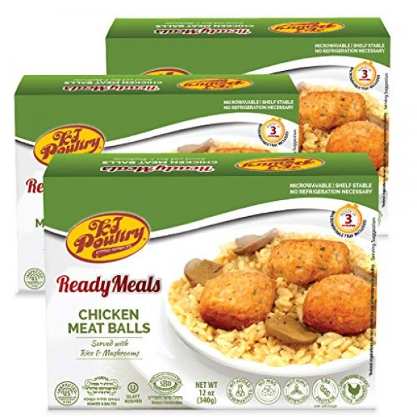Kosher MRE Meat Meals Ready to Eat, Chicken Meat Balls & Mushroo...