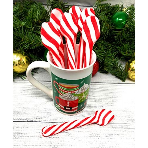 Candy Cane Spoons Peppermint Flavored - Edible Hot Chocolate Cof...