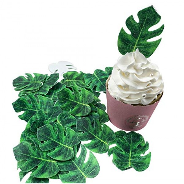 48pcs Edible Tropical Palm Leaves Cupcake Toppers for Hawaii The...