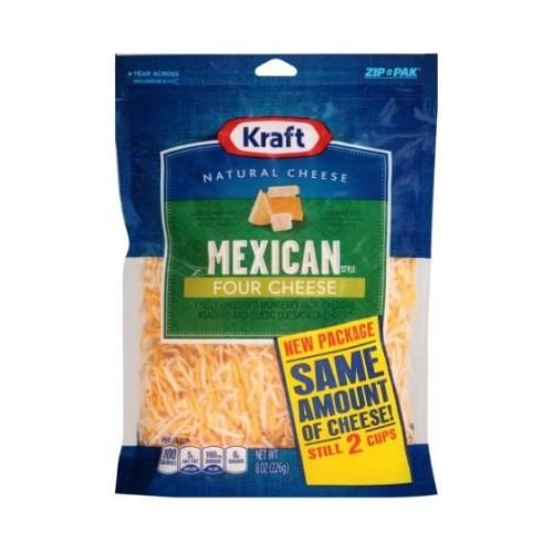 Kraft Finely Shredded Mexican Style Four Cheese, 8 Ounce -- 12 p...