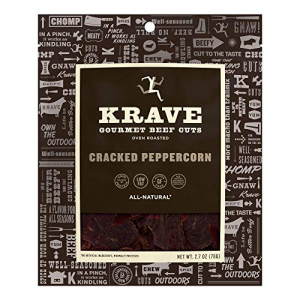 KRAVE Cracked Peppercorn Beef Jerky 4 Pack | Premium Chef Crafte...