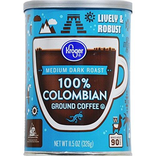 Kroger Medium Dark Roast Coffee - 100% Colombian Ground Coffee 1...