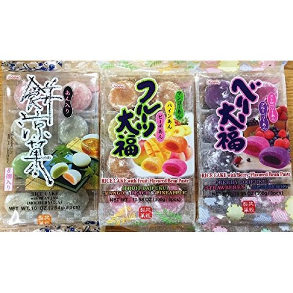 Japanese Fruit Flavor Mochi Strawberry & Blueberry, Mango & Peac...