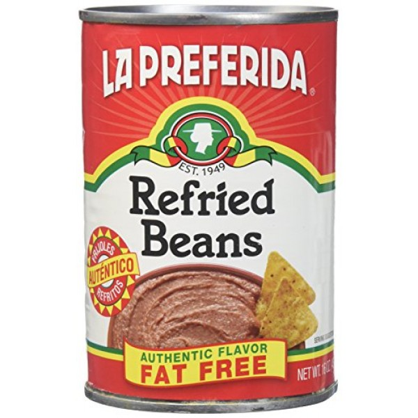 La Preferida Refried Beans Fat Free, 16-Ounce Pack of 12