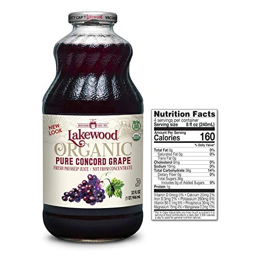 Lakewood Organic PURE Concord Grape Juice, 32-Ounce Bottles Pac...