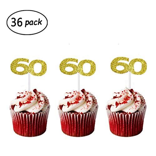 36 Pack Gold Glitter 60th Birthday Cupcake Topper Cake Picks for...
