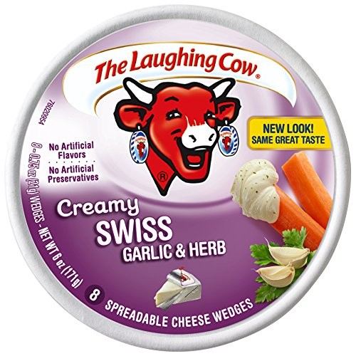 Laughing Cow Cheese Wedges Creamy Garlic and Herb, 6 Ounce ...