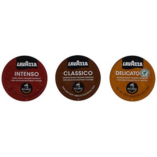 30 Count - Lavazza Sampler Pack for Keurig Rivo 3 Flavors, 10 P...