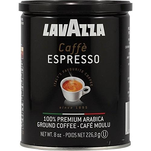 Lavazza Caffe Espresso Ground Coffee, Medium Roast 8 oz Cans Ful...