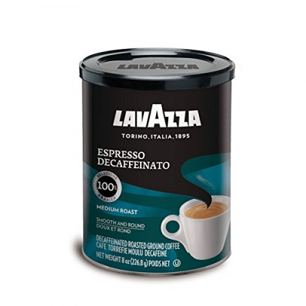 Lavazza Decaffeinated Espresso Ground Coffee, 8 Ounce Pack of 2
