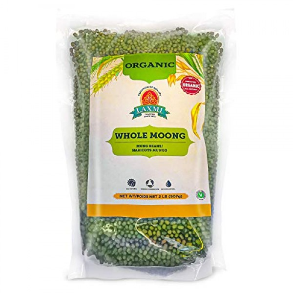 Laxmi Organic Whole Moong, Mung Bean Seeds - 2lbs for Cooking & ...