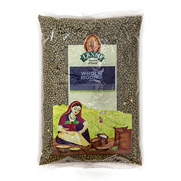 Laxmi Whole Moong, Mung Bean Seeds - 2lbs for Cooking & Sprouting