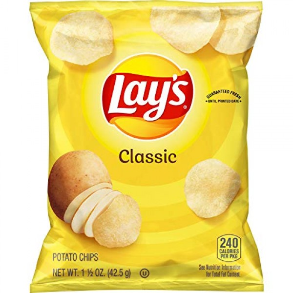 Lays Classic Potato Chips, 1.5 Ounce Pack of 64