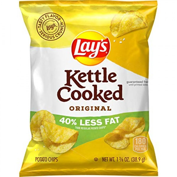 Lays Kettle Cooked 40% Less Fat Original Potato Chips, 1.375 Ou...