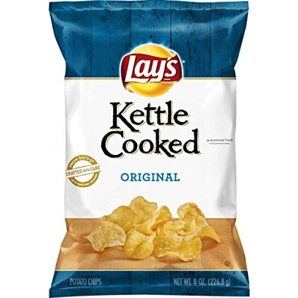 Lays Kettle Cooked Potato Chips, Original, 8 Oz