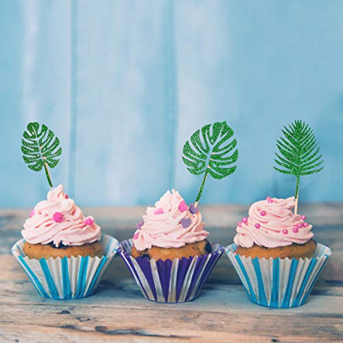 24Pcs Glittery Palm Leaves Cupcake Toppers for Tropical Party Ha...