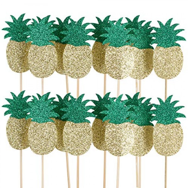 24Pcs Pineapple Cupcake Toppers- Hawaii Luau Tropical Summer The...