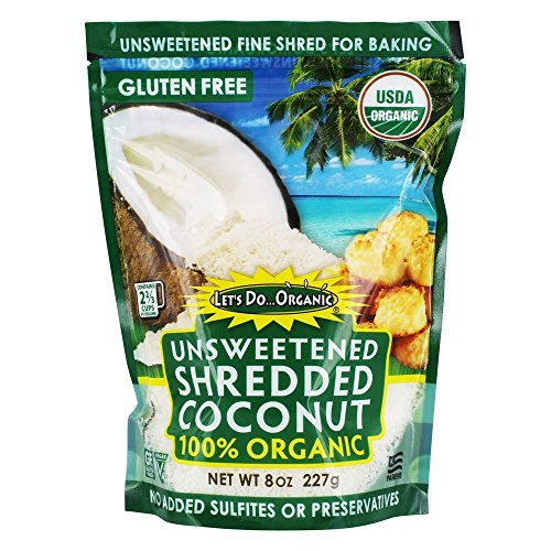 Lets Do Organic Coconut Shredded, Unsweetened, 8-Ounce Pack of 6