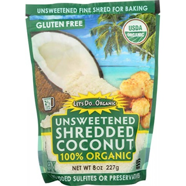Lets Do Organics Organic Shredded Coconut, 8 Oz