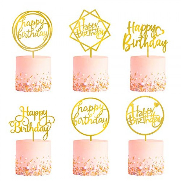 6-Pack Gold Birthday Cake Topper Set, Double-Sided Glitter, Acry...