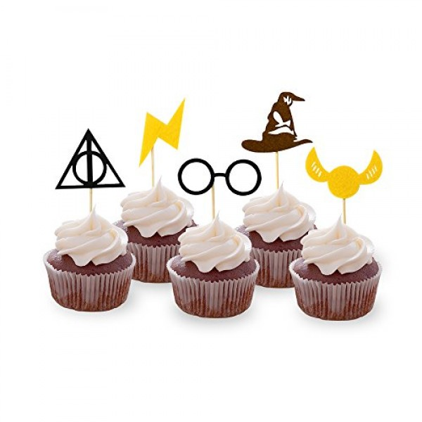 30PCS Wizard Cupcake Toppers, HP Birthday Party Cake Decorations...