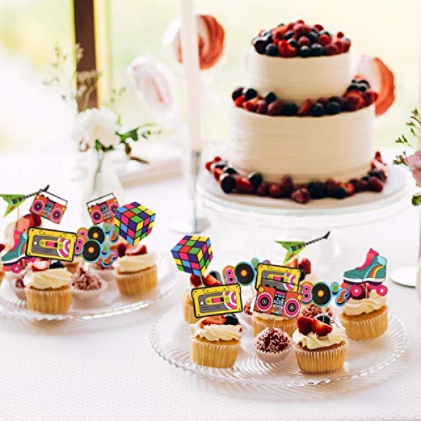 48pcs 80s Cupcake Toppers 80s Retro Cupcake Toppers - Totally ...