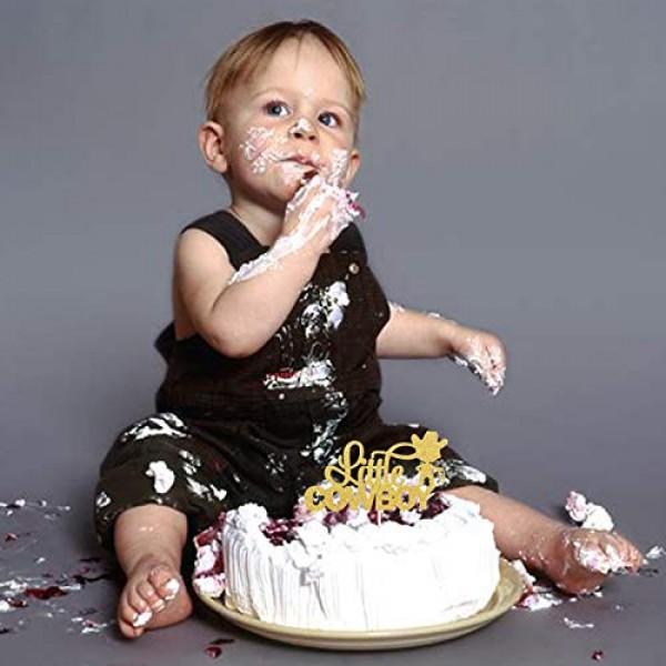 Little Cowboy Birthday Cake Topper - Gold Glitter Lasso Roper Ro...