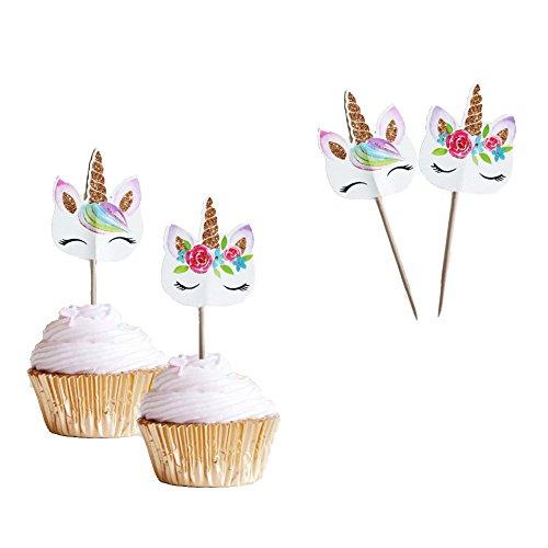 Unicorn Eye Horn Cupcake Topper 48 Pack Double Sided Girls Par...