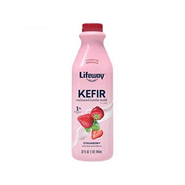 Lifeway Lowfat Strawberry Kefir, 32 Ounce -- 6 per case.