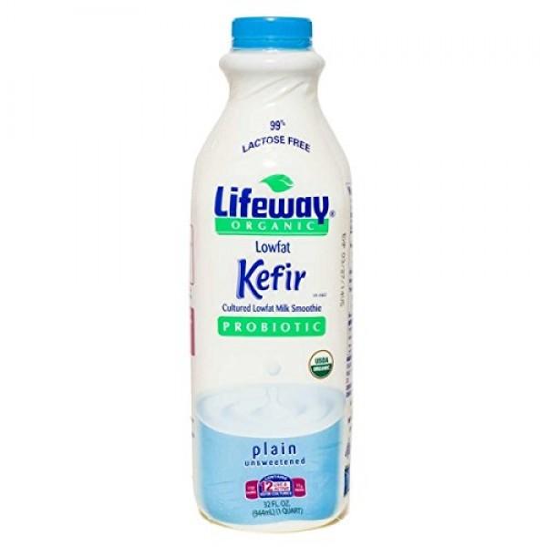Lifeway Organic Lowfat Kefir, Plain, 32 Ounce Pack of 06